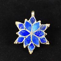 Vintage Sterling Silver Southwestern Pendant Lapis Lazuli Inlay Flower Handmade