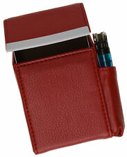 Red Cigarette Hard Case Leather Flip Top Lighter Holder Unisex