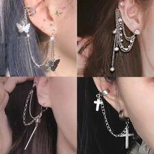 Hot Silver Butterfly Cross Pearl Siamese Integrated Tassel Earrings Jewelry Gift