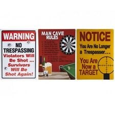 Metal Plaque Novelty Bedroom 43 Cm Signs Warning No Trespassing Man Cave Pms Survivors Will Be Shot Again