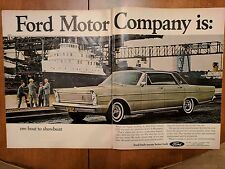 1965 Ford Galaxie 500 LTD Car Showboat Double Page Vintage Print Ad