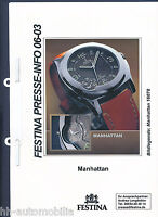 3002FE Festina Presseinformation Manhattan Armbanduhr 2003 press release watches