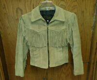 Branded Garments Beige Suede Fringe Women's Short Moto Jacket Size 8