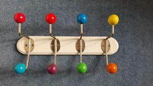 Retro look  coat hook rack 4 double ball hooks 36cm wide