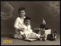 larger size Vintage Photograph, boys w toys, clown, cat, pyjamas, funny, 1920's