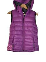 Tangerine Womens Insulated Purple Puffer Vest w/ Hood Size Small Pockets