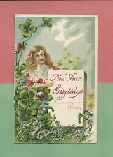 Lovely GIRL, Colorful FLOWERS On Beautiful Vintage 1908 NEW YEAR Postcard