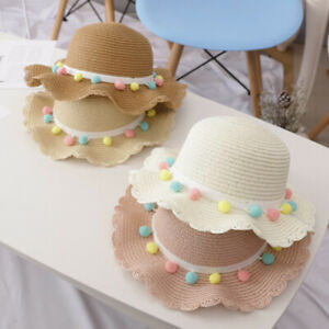 Summer Toddler Baby Kids Girls Breathable Sun Tassel Balls Straw Hat Beach Cap U