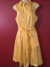 NEW YORK & CO Women's Yellow Buttoned Sleeveless Dress - Size Small - NWT $59.95
