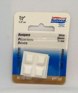 """NOS National Hardware 1/2"""" White Bumpers V1708  Rubber Protectors Adhesive 8 Pk"""