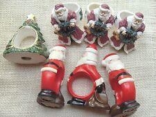 New listing Mismatched Christmas napkin ring lot - Santas, Xmas tree - craft upcycle lot