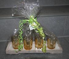 4 Kerzengläser GOLD im Tablett Kerzenhalter Teelichter Deko Geschenk
