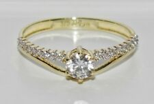 UK Hallmarked 9ct Yellow Gold 0.33ct Solitaire Ladies Engagement Ring - size S