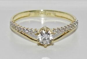 UK Hallmarked 9ct Yellow Gold 0.33ct Solitaire Ladies Engagement Ring - size M