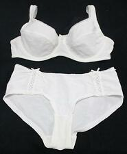 WHITE EMBROIDERED SHEER NON PADDED BRA PANTIES SET 12B 34B  * COMFY FIT *