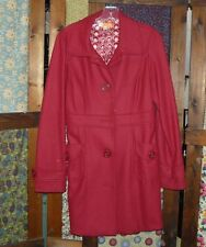 Anthropologie Tulle Jacket Coat Large Red Wool Blend Lined Great Coat!