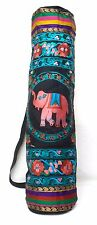 "Yoga Mat Bag Embroidered Elephant Flower Black Multicolor 27"" x 6"" Ethnic NWT"