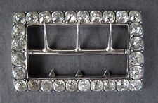Rectangular cut paste diamond belt buckle. Hallmarked  A.T. Paris