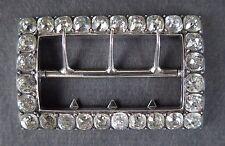 More details for rectangular cut paste diamond belt buckle. silver hallmarked  a.t. paris