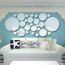 26PC 3D Mirror Circle Decal Wall Sticker DIY Removable Art Mural Home Room Decor