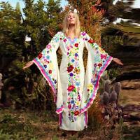 Damen Bohomian Schmetterling Print Boho Kleid Abendkleid  Trompeten Ärmel BC811