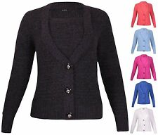 Button Wool Hip Length V Neck Jumpers & Cardigans for Women