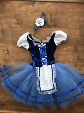 Ice Skating Blue Velvet Apron Dress Figure Skate Dance Ballet Girls Size 7/8