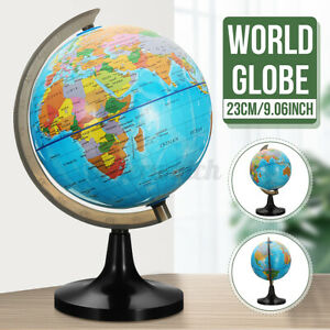 23CM Rotating Earth Globe World Map Swivel Stand Geography Educational Toy Decor