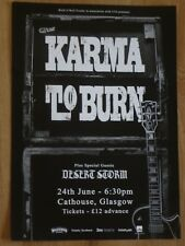 Karma To Burn + Desert Storm - Glasgow june 2018 show tour concert gig poster