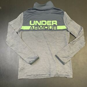 Kids Youth Under Armour Quarter Zip Top Sweater Logo Sports Active Gym Gray L