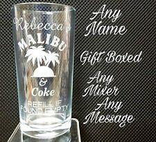 PERSONALISED ENGRAVED MALIBU GLASS MALIBU AND COKE GLASS GIFT BOXED