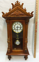 "Clock Chime Wall Hanging Wood Ornate Carving Wind Up 30"" Long Wooden Strike"