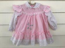 Vintage Baby Girl Dress Infant 3-9 Moths Pink Lace Peter Pan Collar Pinafore