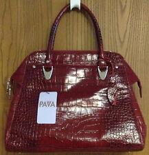 Pava Genuine Leather Quality Deep Red Designer Handbag Adjustable Shoulder Strap