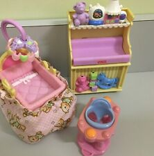 Fisher Price LOVING FAMILY Dollhouse Baby Lot: Bassinet, Changing Table music..