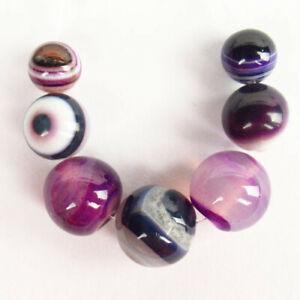 7Pcs/Set Purple Onyx Agate Round Ball Pendant Bead 12-8mm F99365