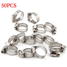 "50PCS 1/2""-5/8""Stainless Steel Adjustable Drive Hose Clamps Fuel Line Clip Clamp"