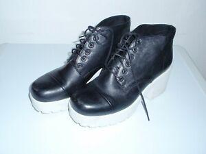 Vagabond Ladies Girls Black Leather Lace Up Ankle Boots Size 41