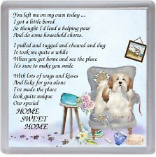 """Lhasa Apso Dog Coaster """"HOME SWEET HOME Poem ...."""" by Starprint"""