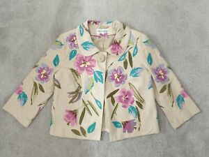 Autograph from Marks & Spencer Linen/embroidered Floral Jacket - Size 10 - BN