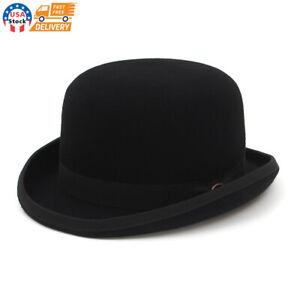 Wool Felt Derby Bowler Hat Men Women Dress Tuxedo Costume Steampunk S-XL Black