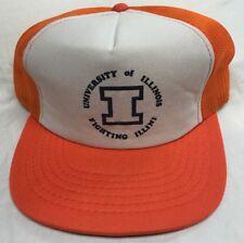 VINTAGE University of Illinois Fighting Illini 80s Hat Snapback Trucker Mesh Cap