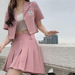 Japanese Girl School Uniform Outfit Set Mini Skirt Dress Anime Cosplay Plus Size