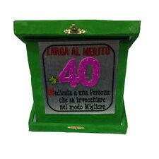 40 AÑOS placa de saludos cumpleaños verde purpurina 14x14 cm made in italy