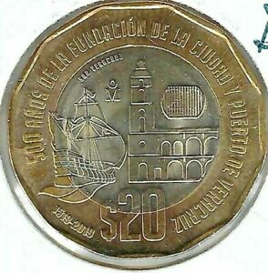 2019 Mexico 20 Pesos Uncirculated  Bimetallic 500th Anniversary of Veracruz Ship