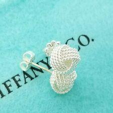 Tiffany & Co. 925 Sterling Silver Somerset Twist Knot Mesh Ball Stud Earrings
