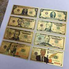 8PC Donald Trump Gold Dollar Bill Full Set Gold Banknote USD 1/2/5/10/20/50/100