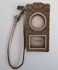 VTG Coach iPod/MP3 Case Wristlet Signature C Gold Metallic/ Brown Canvas Leather