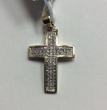 10K REAL YELLOW GOLD Small 0.17ct Diamond Cross PENDANT 1.8g
