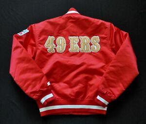 SAN FRANCISCO 49ERS RED SATIN STARTER JACKET NFL VINTAGE MEN SMALL RARE